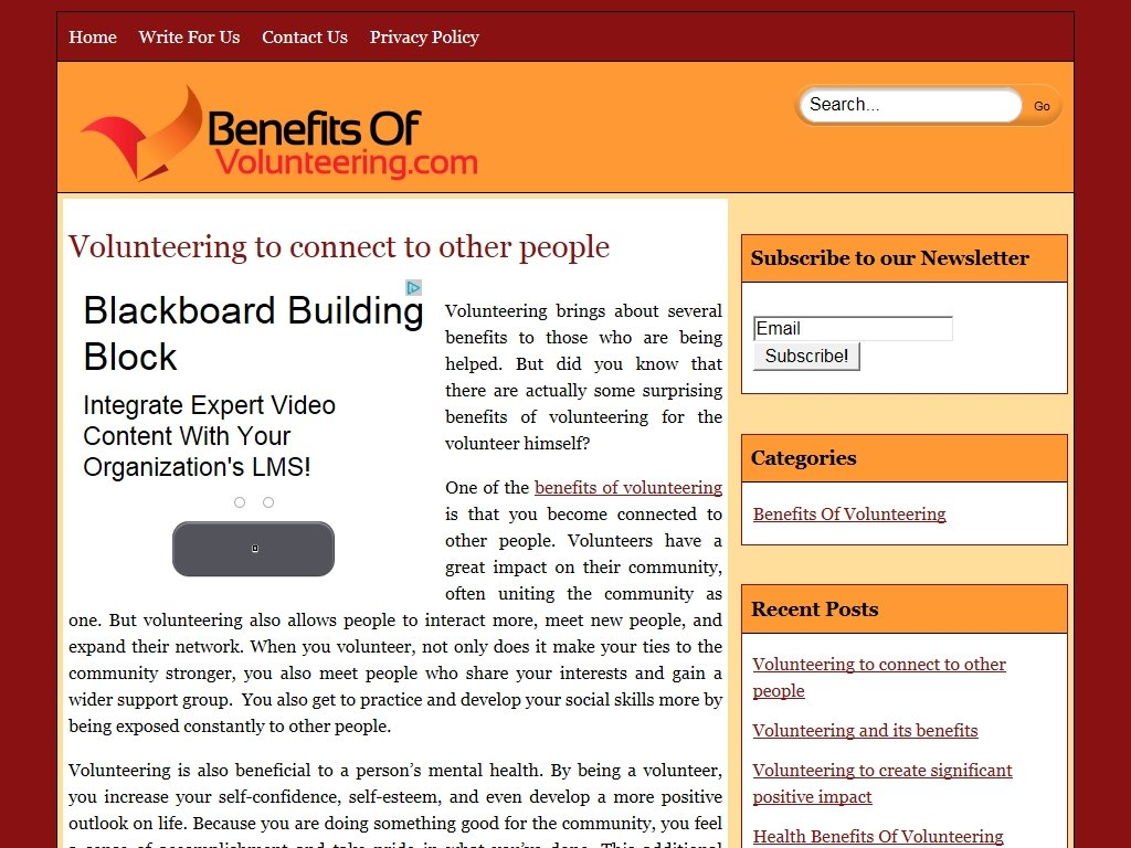 benefitsofvolunteering.com